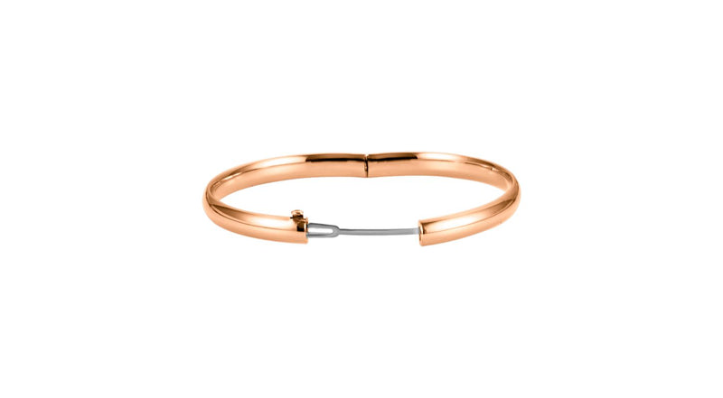 14K Rose Gold 6.5 mm Hinged Bangle Bracelet