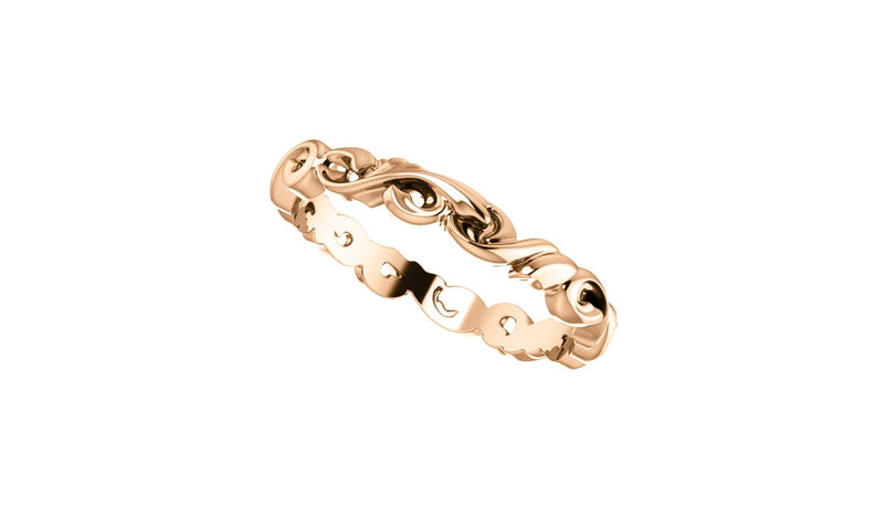 14K Rose 3 mm Sculptural-Inspired Scroll Design Band Size 7