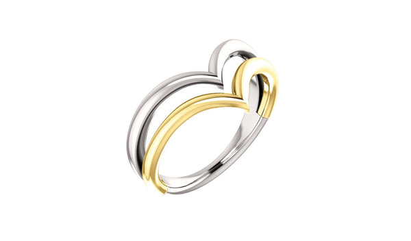 "14K White & Yellow Double ""V"" Ring"