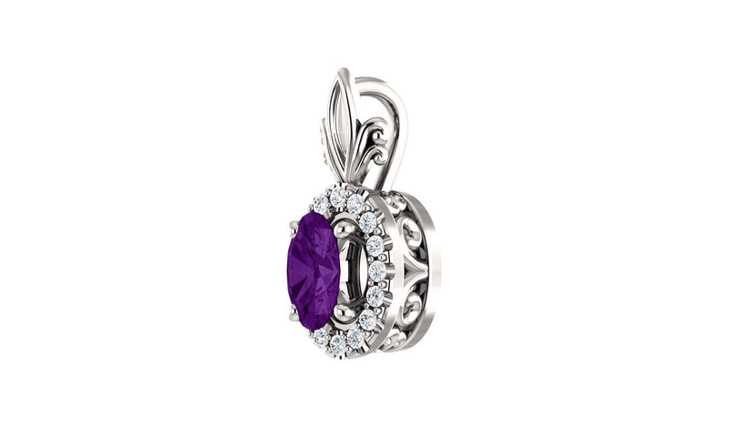 14K White Amethyst & .08 CTW Diamond Pendant - THE LUSTRO HUT