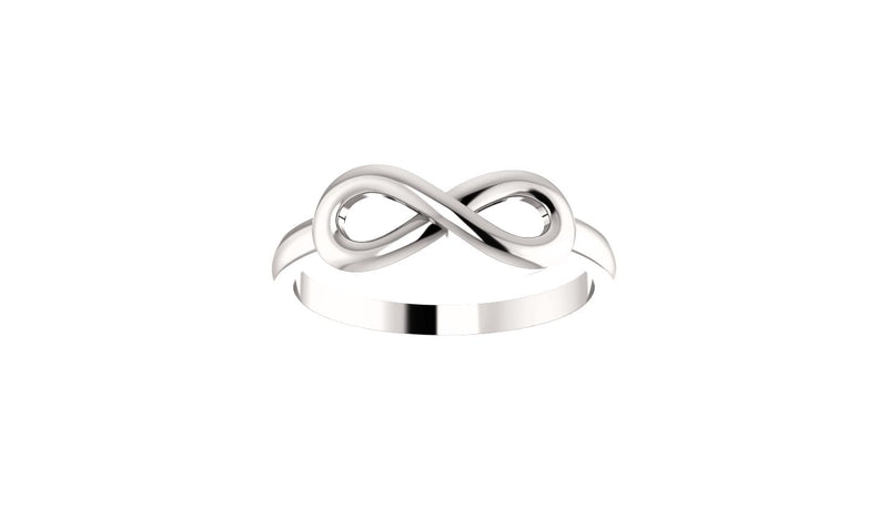 14K White Infinity-Inspired Ring