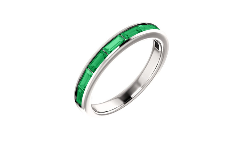 14K White Chatham® Created Emerald Ring