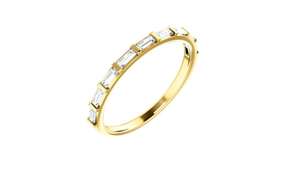 14K Yellow 1/4 CTW Diamond Straight Baguette Anniversary Band