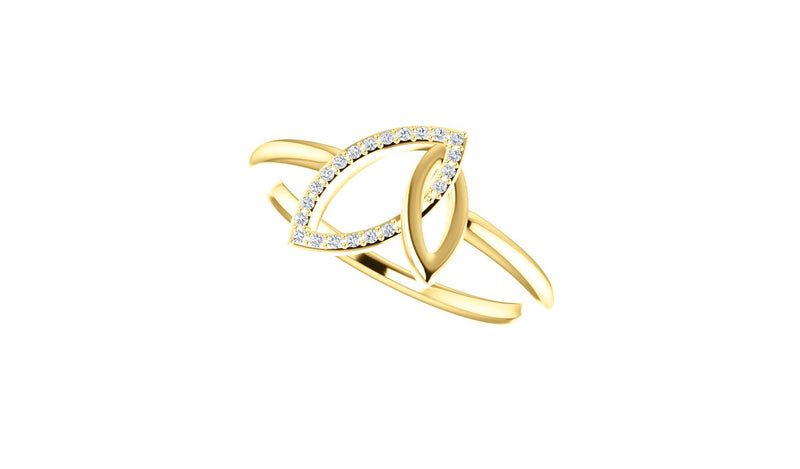 14K Yellow .05 CTW Diamond Double Leaf Ring