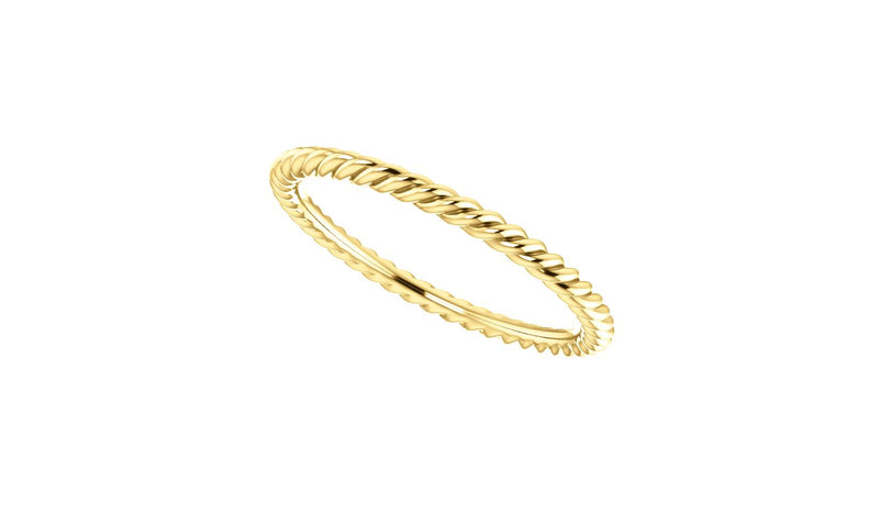 14K Yellow 1.5 mm Skinny Rope Band Size 4.5