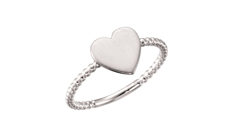 14K White Heart Engravable Beaded Ring - THE LUSTRO HUT