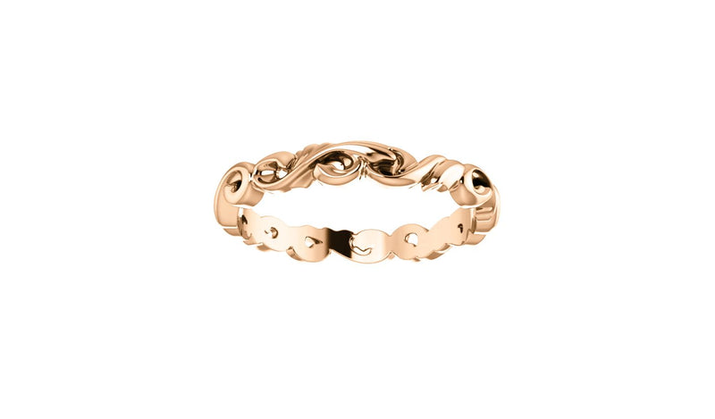 14K Rose 3 mm Sculptural-Inspired Scroll Design Band Size 7 - THE LUSTRO HUT