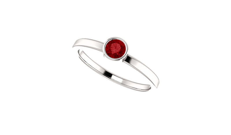 14K White Chatham® Created Ruby Ring