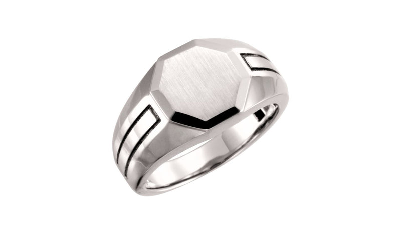 14K White Mens Signet Ring