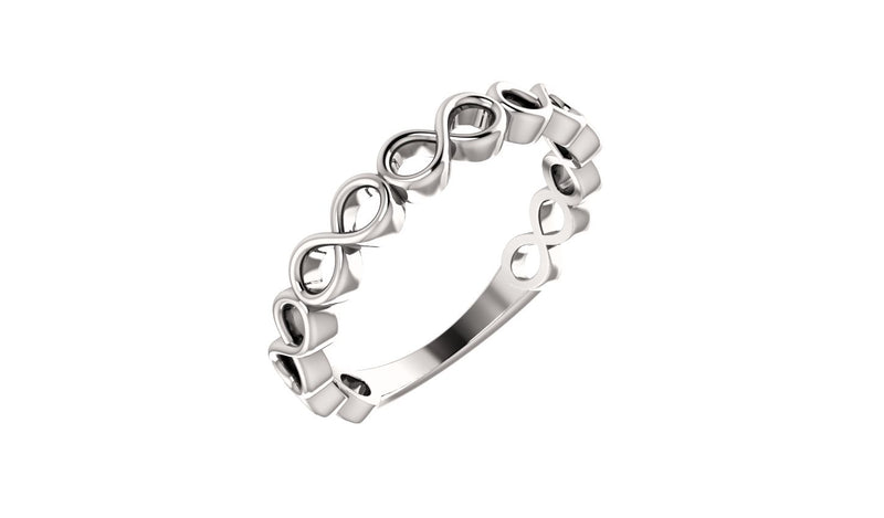 14K White Infinity-Inspired Stackable Ring