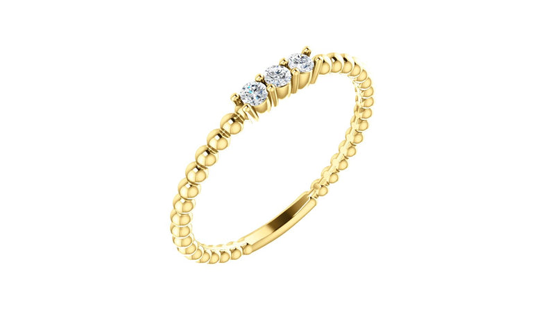 14K Yellow 1/10 CTW Diamond Beaded Ring