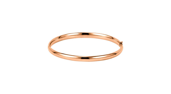 14K Rose Gold 4.75 mm Hinged Bangle Bracelet