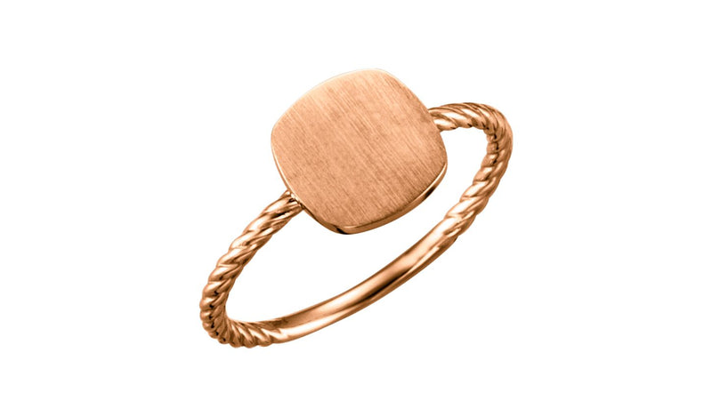 14K Rose Antique Engravable Rope Ring