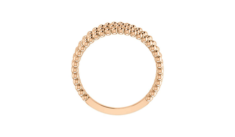 14K Rose Beaded Criss-Cross Ring