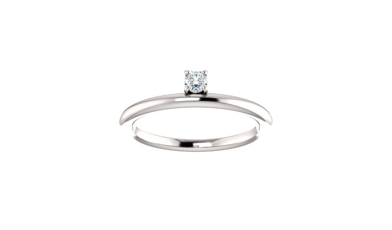 14K White 1/10 CTW Diamond Stackable Ring