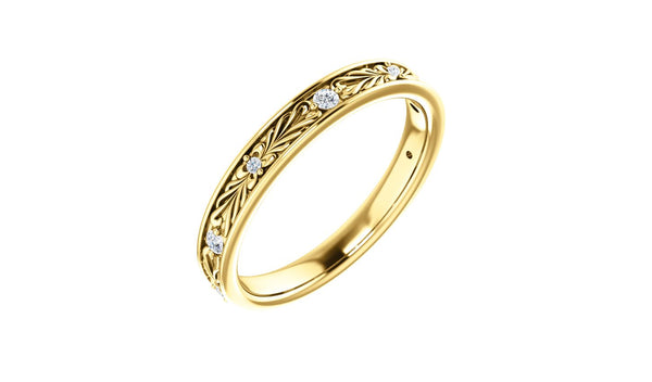 14K Yellow .08 CTW Diamond Anniversary Band