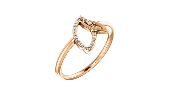 14K Rose .05 CTW Diamond Double Leaf Ring