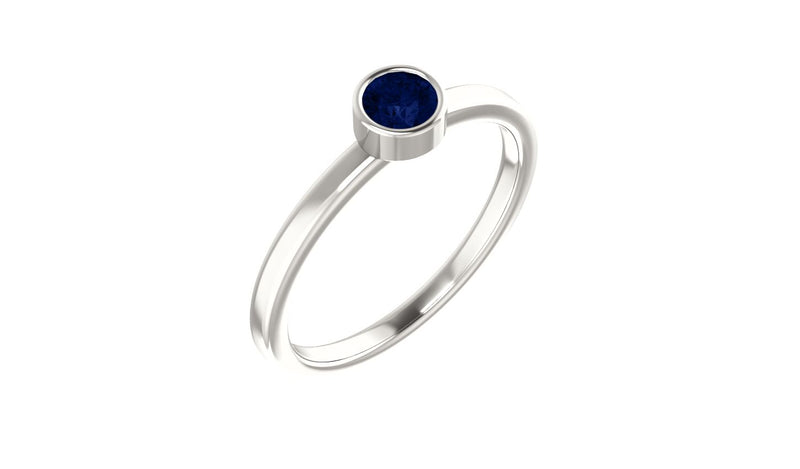 Sterling Silver Imitation Blue Sapphire Ring