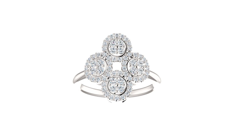 14K White 1/2 CTW Diamond Clover Ring