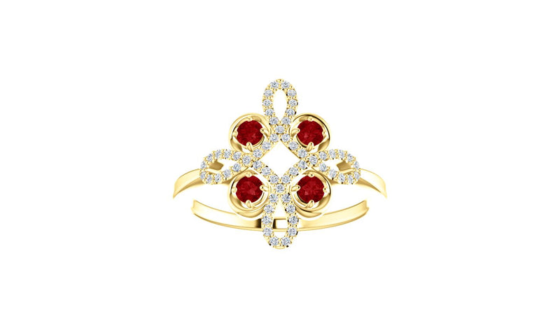 14K Yellow Ruby & 1/6 CTW Diamond Clover Ring - THE LUSTRO HUT