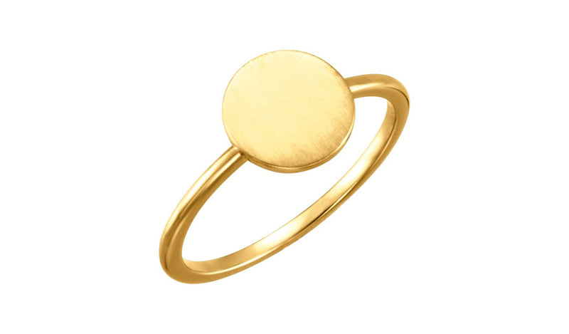 14K Yellow Round Engravable Ring - THE LUSTRO HUT