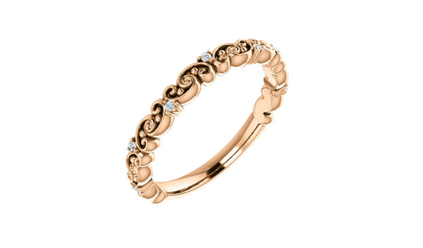 14K Rose .04 CTW Diamond Anniversary Band