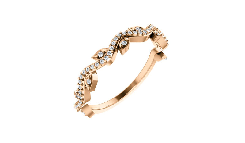 14K Rose 1/6 CTW Diamond Leaf Ring - THE LUSTRO HUT