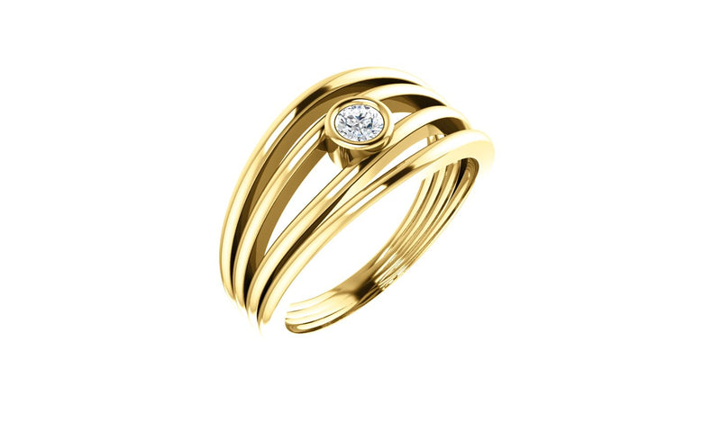 14K Yellow 1/8 CTW Diamond Ring