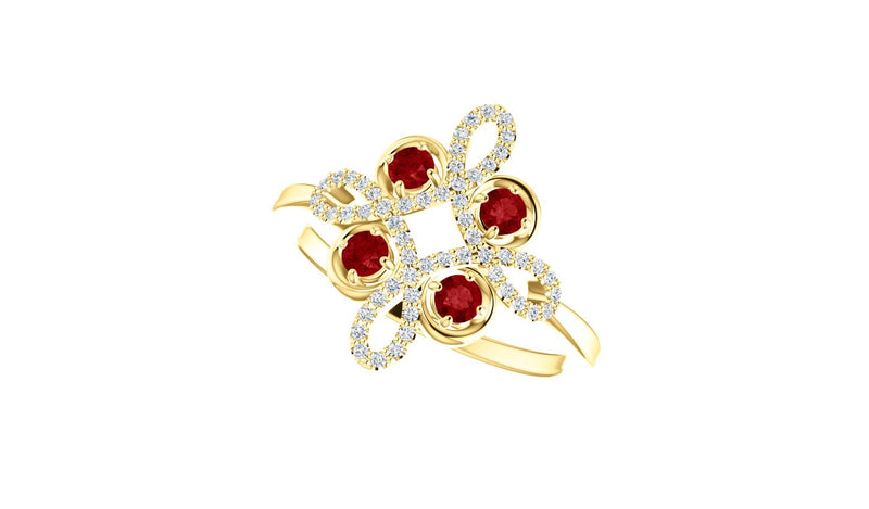 14K Yellow Ruby & 1/6 CTW Diamond Clover Ring