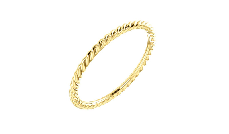 14K Yellow 1.5 mm Skinny Rope Band Size 7.5