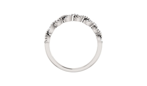 14K White .08 CTW Diamond Stackable Ring - THE LUSTRO HUT