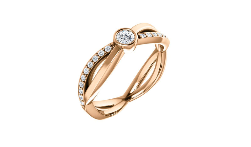14K Rose 3.4 mm Round 1/3 CTW Diamond Infinity-Inspired Ring - THE LUSTRO HUT