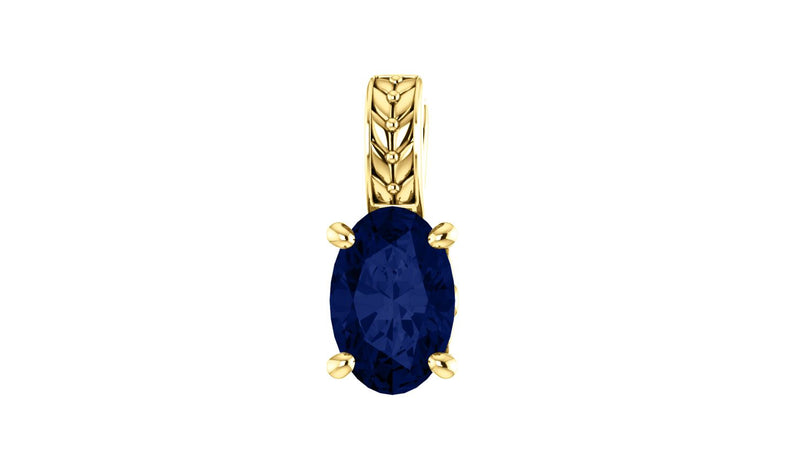 14K Yellow Chatham® Created Blue Sapphire Pendant