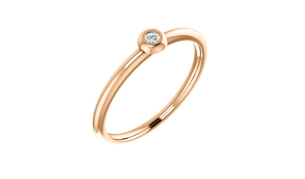 14K Rose .03 CTW Diamond Stackable Ring