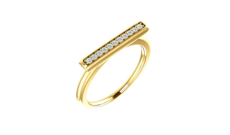 14K Yellow 1/10 CTW Diamond Bar Ring