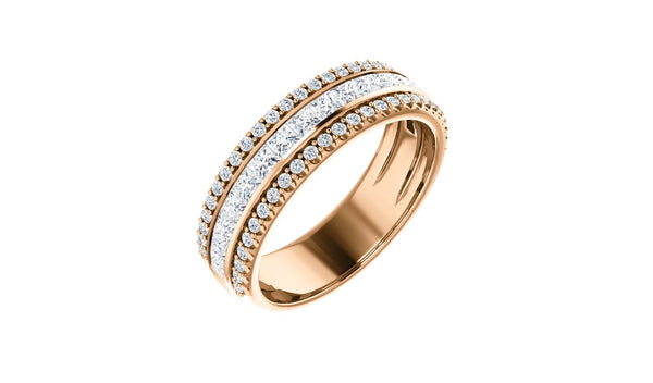 14K Rose 1 1/8 CTW Diamond Anniversary Band