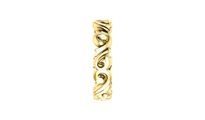 14K Yellow 5 mm Sculptural-Inspired Scroll Design Band Size 6