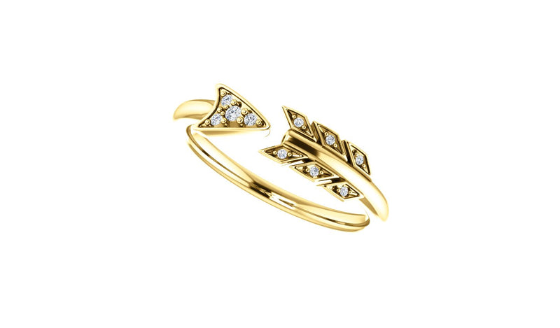 14K Yellow .04 CTW Diamond Arrow Ring