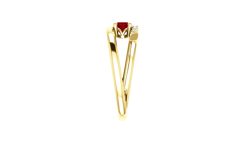 14K Yellow Chatham® Created Ruby & 1/8 CTW Diamond Ring