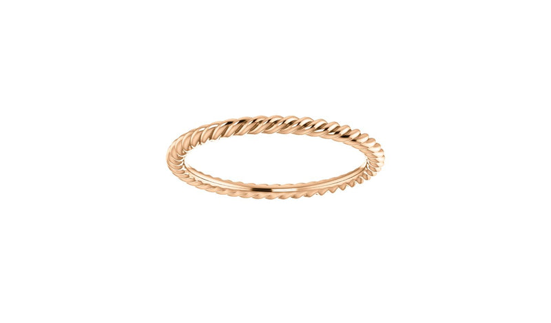 14K Rose 1.5 mm Skinny Rope Band Size 4.5