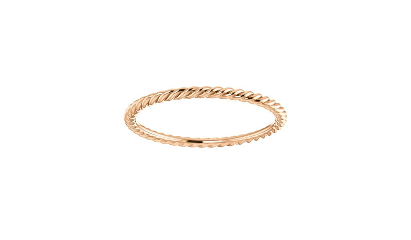 14K Rose 1.5 mm Skinny Rope Band Size 8