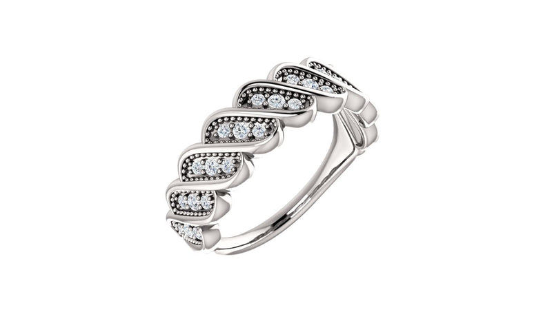 14K White 1/4 CTW Diamond Stackable Ring