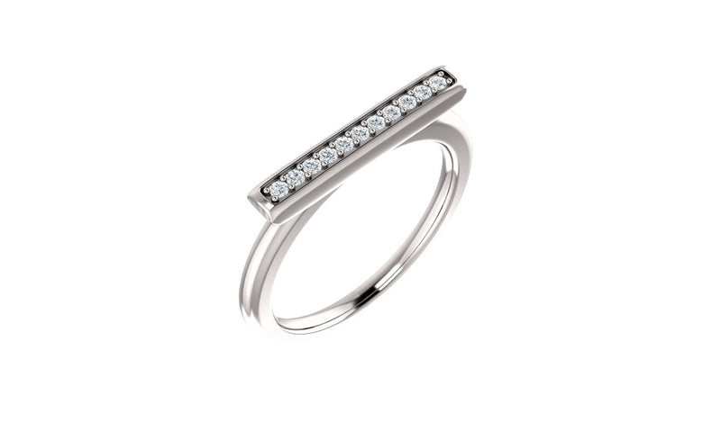 14K White 1/10 CTW Diamond Bar Ring