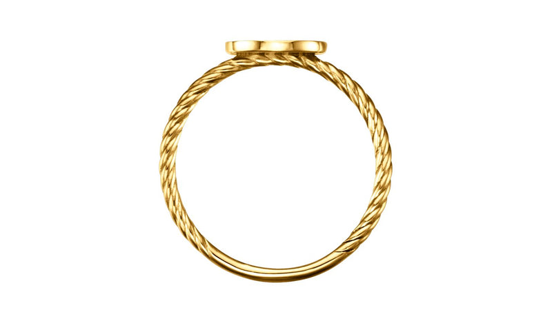 14K Yellow Oval Engravable Rope Ring