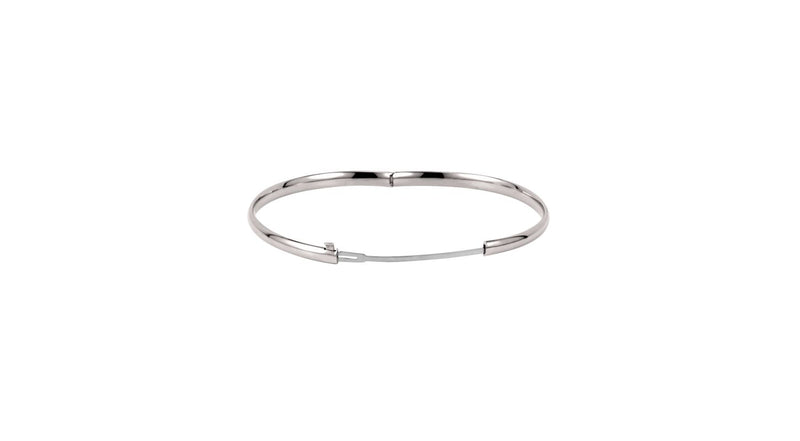 14K White Gold 4 mm Hinged Bangle Bracelet