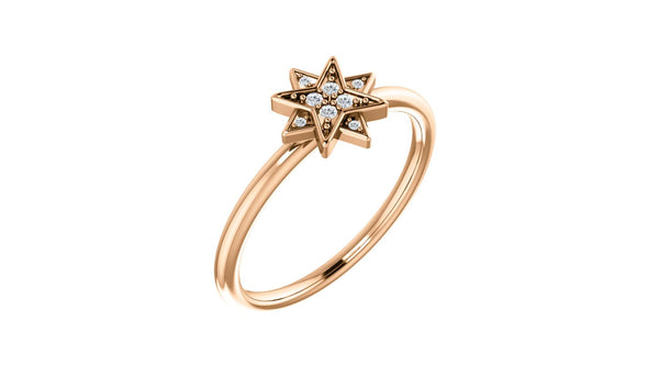 14K Rose .04 CTW Diamond Star Ring - THE LUSTRO HUT