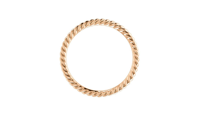 14K Rose 1.5 mm Skinny Rope Band Size 5.5