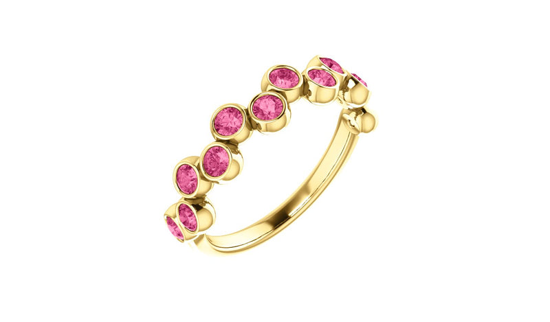 14K Yellow Pink Tourmaline Bezel-Set Ring