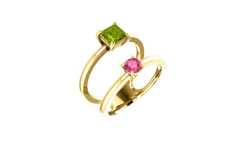 14K Yellow Peridot & Pink Tourmaline Two-Stone Ring