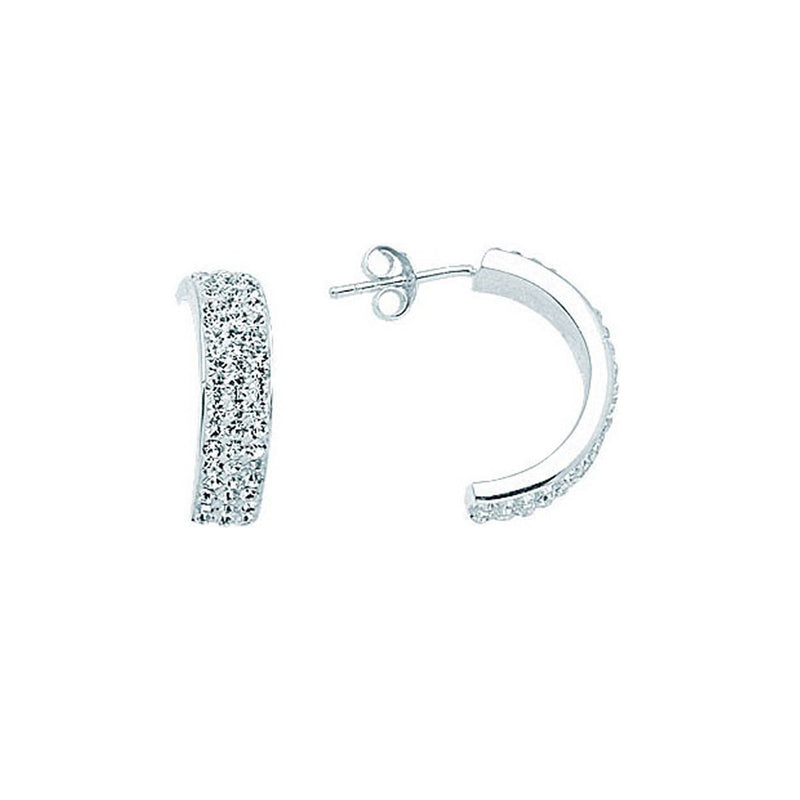 SS 20X3 HALF HOOP EARRINGS / 3 ROWS OF C